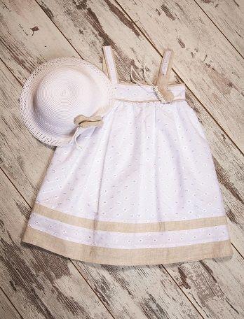 Girl 's Dress with Linen & Hat #cutegirl #kidswear #girldress #babygirl