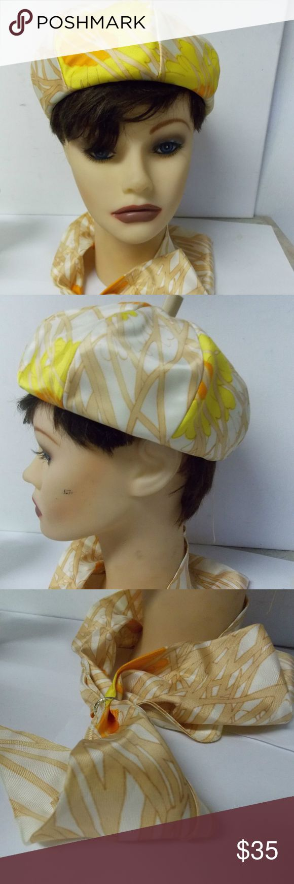 """Gimbels Mr Martin Beret Style Hat & Matching Scarf True Vintage   Union Label, USA Made  Tag inside Gimbels, and Mr. Martin  Matching beret style hat and scarf, scarf includes a ring   New/ Old stock      Measures 21 1/2  """" around, inside measurements        Very good , clean condition Gimbels/ Mr. Martin Accessories Hats"""