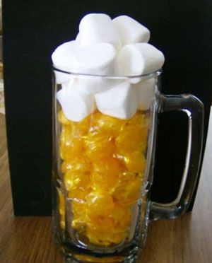 a gift for the guys.  Supplies:        1 glass beer mug      1 large bag of butterscotch candies      10 large marshmallows      cellophane and ribbon     Instructions:    Take glass beer mug, fill 2/3 of the way up with the butterscotch candies. Fill remaining area in mug and a little higher with marshmallows.    Wrap in cellophane and wrap with ribbon.