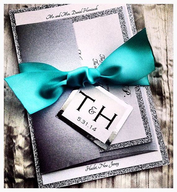 Teal Silver Glitter Wedding Invitation and RSVP Set with Ribbon Belly Band, Modern Wedding Invitation, Teal Silver Glitter on Etsy, $5.35
