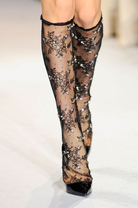 Collette Dinnigan F/W 2012 - beaded sheer black lace knee highs socks stockings