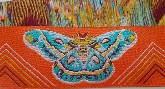 Jacquard ribbon Trim | Designer Anna Maria Horner Jacquard | 1-1/2 Inch Moth and Triangle Pattern Woven Jacquard Ribbon | Orange ribbon