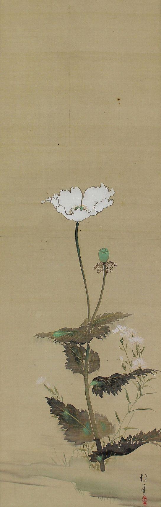 Antique Japanese Fine Art Wall Hanging Scroll Painting, Sakai Hōitsu (1761-1828) painter of the Rimpa school