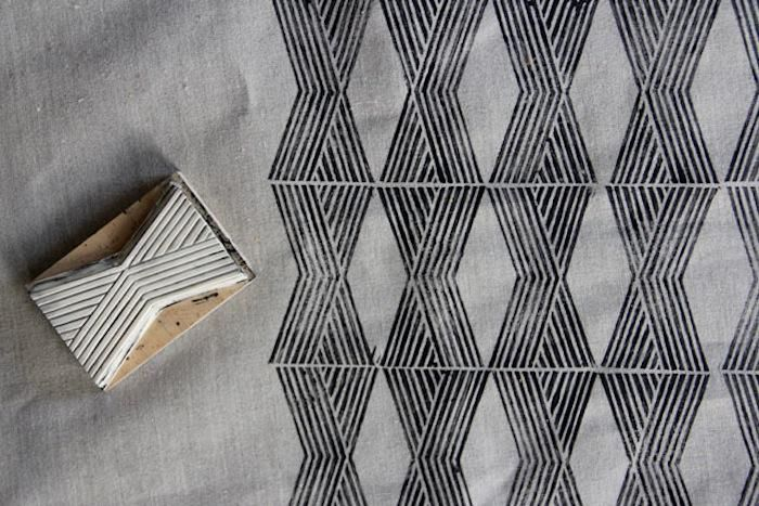 DIY: Hand-Stamped Upholstery Fabric
