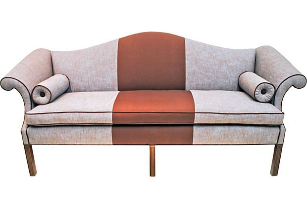 Striped Brown Fabric Couch