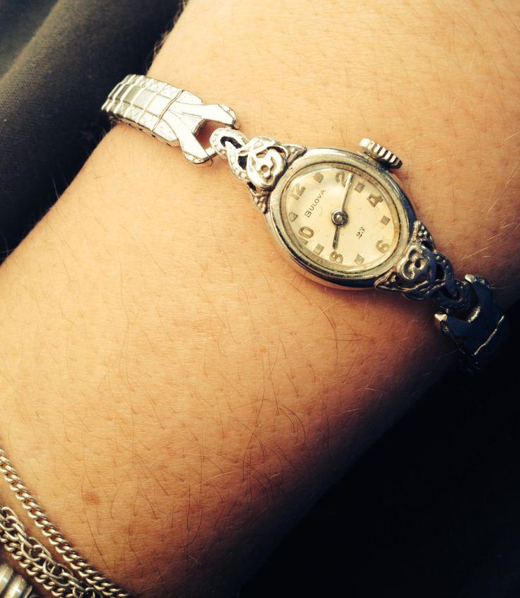 Beautiful White Gold Bulova Vintage 23 Jewels Rose Wristwatch by PastFunk on Etsy