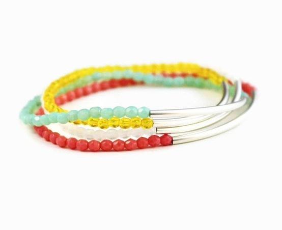 more beaded bracelets: Design Pretty, Mint Green, Jewelry Fashion, Green Design, Yellow Coral, Colorful Bar, Etsy Jewelry, Fashion Spring, Bar Bracelets