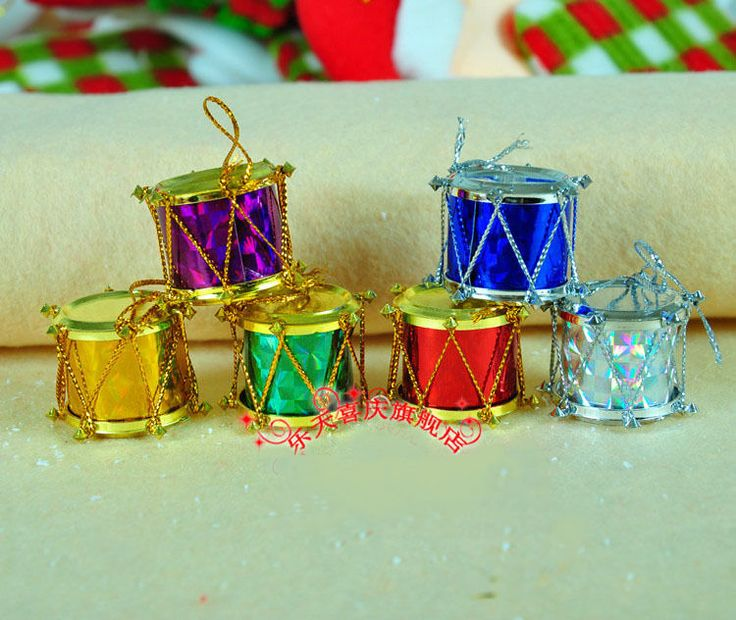 Christmas Tree Ornaments----6 Diameter 5.5 cm Colorful Snare Drum In Pack #Unbranded