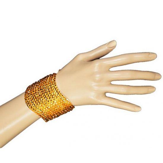 Glitter & Glamour themafeest: Armband met gouden pailletten. Deze armband met gouden pailletten is geschikt voor volwassenen.
