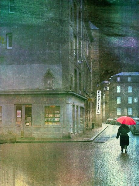 Exposition, Rainy Streets in Paris France……WOULDN'T YOU JUST KNOW THIS WOULD BE  PARIS……GOTTA HAVE THAT RED UMBRELLA TO KEEP THE WORLD AWARE OF OUR STYLE……….ccp