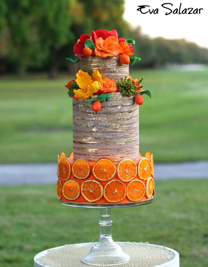 Orange Rustic Mothers day Cake by Eva Salazar  - http://cakesdecor.com/cakes/242366-orange-rustic-mother-s-day-cake
