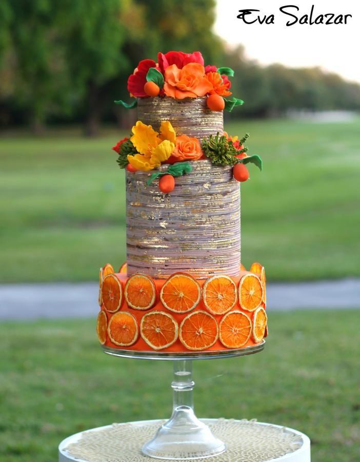 Orange Rustic Mothers day Cake by Eva Salazar  - http://cakesdecor.com/cakes/242366-orange-rustic-mother-s-day-cake