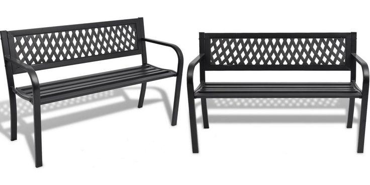 Black Metal Outdoor Bench 2 Seater Garden Chair Decorative Pool Patio Furniture