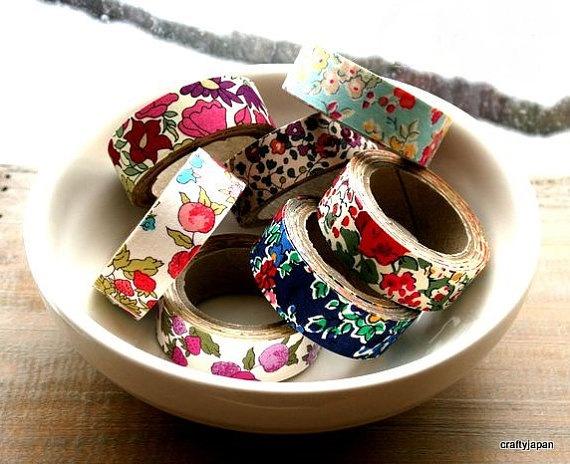 Liberty of London Fabric Masking Tape - Poppy & Daisy in Beige - Set 2
