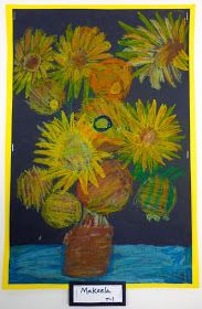 A students view of Van Gogh's Sunflowers. Students looked at the colors Van Gogh used and added those same...