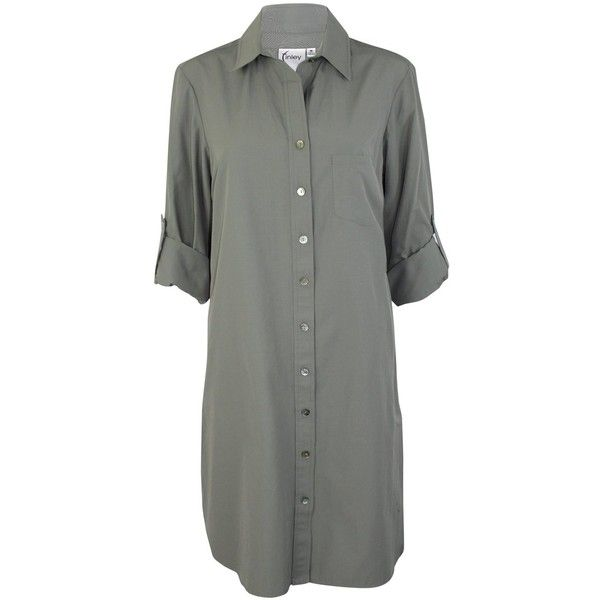 Alex Shirt Dress (2.630 ARS) ❤ liked on Polyvore featuring dresses, shirt dress, sleeve shirt dress, sleeved dresses, button front shirt dress and collared shirt dress