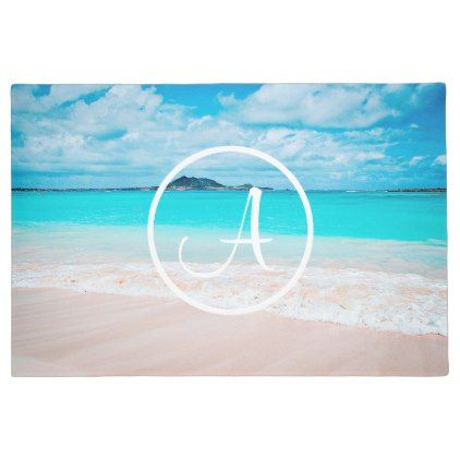 #Turquoise beach photo custom monogram doormat - #doormats #home & #living
