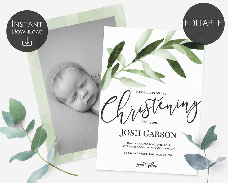 Christening Invitation Template, Editable PDF, Greenery Olive leaves, Foliage Olive Watercolour Printable, Instant Download, Boy Invitation by LineDesignArts on Etsy
