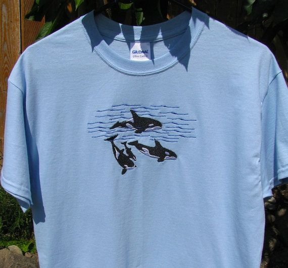 Men's Size Large Light Blue Embroidered Orca Whale Pod T-Shirt, Ready to Ship! Whale Shirt, Embroidered Orca Whale Shirt, Men's T-Shirt