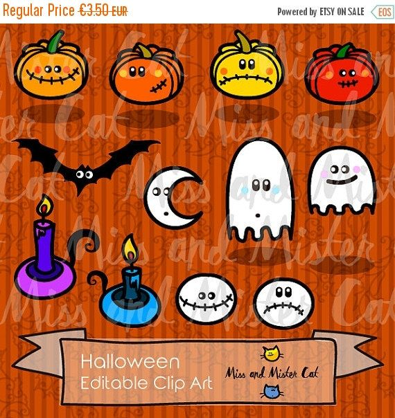 Halloween clipart with pumpkins, ghosts, bats, skulls, chandeliers and a beautiful moon. Clipart vector graphics, digital clip art, images.