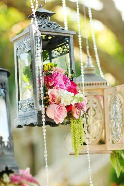 Vintage Lantern Used To Hold Floral Arrangement Suspended With A Chain Of Pearls Flowers Cottage Style Shabby Chic Diy Home Decor Crafts Would Also Go