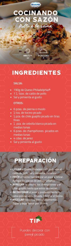 A la hora de la comida no hay nada como un delicioso Pollo a la reina para consentir a tu familia.  #recetas #receta #quesophiladelphia #philadelphia #crema #quesocrema #queso #comida #comidamexicana #cocinar #pollo #recetasdepollo