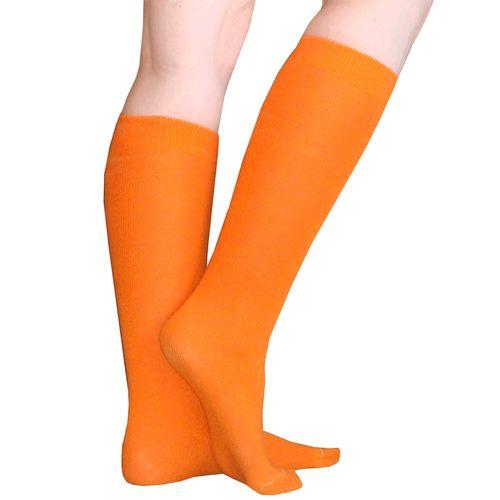 Thin solid orange knee high socks.  Perfect for Halloween