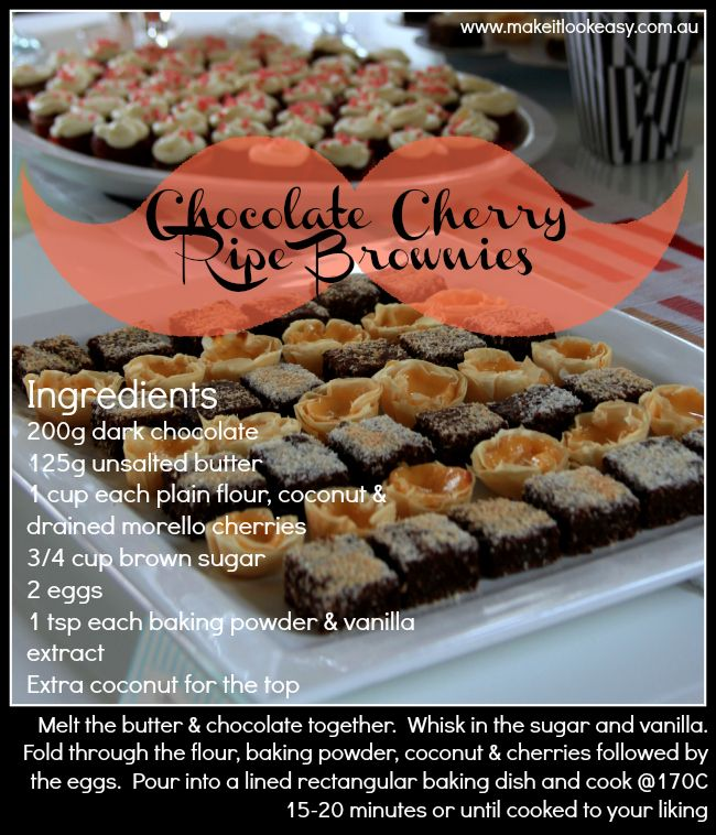Chocolate cherry ripe #brownies.  So many kinds of good! https://www.facebook.com/makesitlookeasy