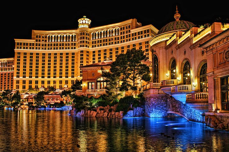 (The Bellagio Casino and Hotel at Night). Bellagio is a luxury casino and hotel on the Las Vegas Strip in Las Vegas, Nevada. It is owned by MGM Resorts International.
