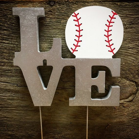 Cake Topper-LOVE Baseball Wedding Cake by TheCrownedLily on Etsy