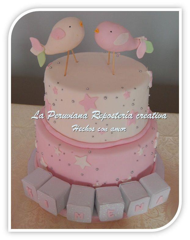 Torta de bautizo con pajaritos.