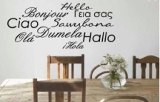 hello ... welcome, say it in lots of languages and your guests will always feel welcome!