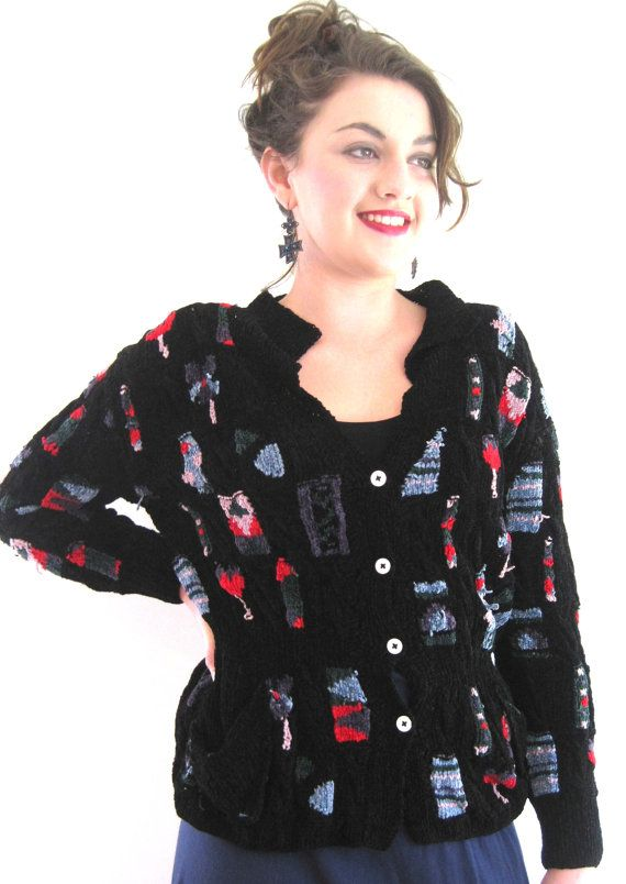 Patricia Roberts Knitting Patterns : Vintage Hand Knit Patricia Roberts Cardigan in Black Chenille and multi color...