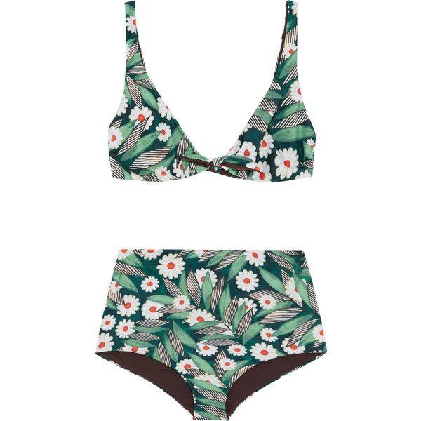 Mara Hoffman Printed bikini (€320) ❤ liked on Polyvore featuring swimwear, bikinis, swimsuits, bikini, swim, high waisted swimsuit, bathing suits bikini, high waist bikini swimsuit, bikini bathing suits and swim bathing suits