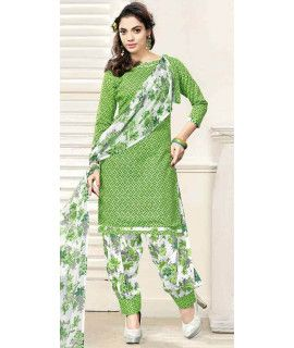 Beautiful Green And White Cotton Patiala Suit.