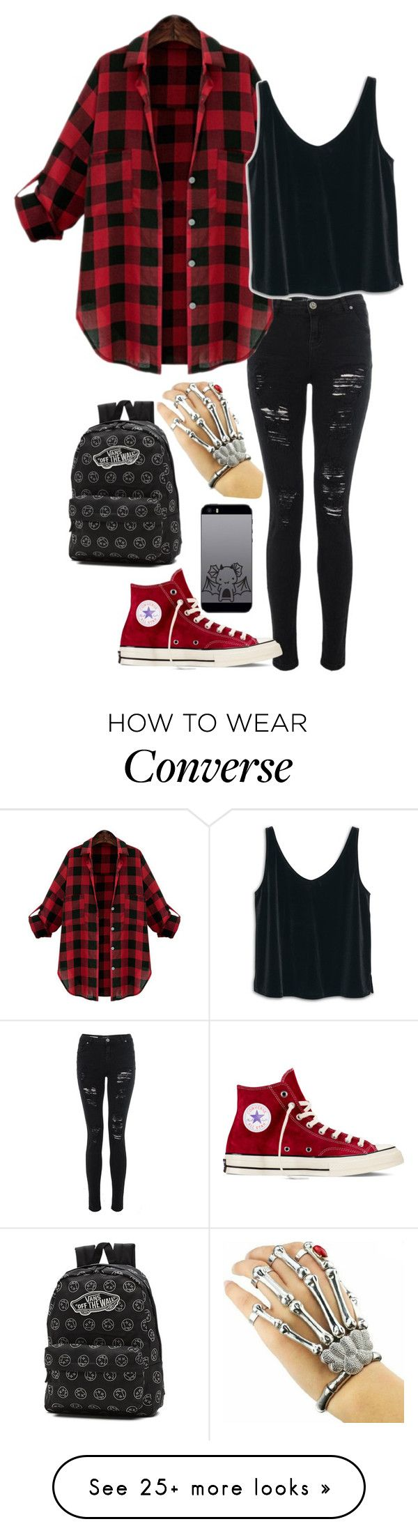 """""""Punk Rock Plaid Overboard"""" by major-12 on Polyvore featuring MANGO, Converse and Vans"""
