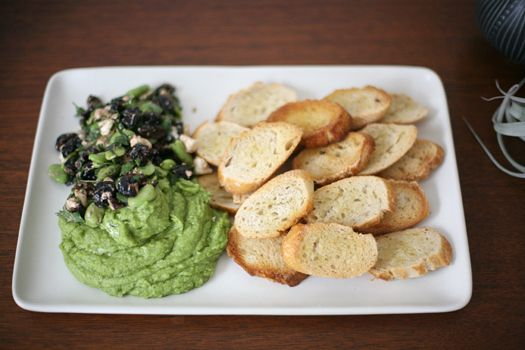 fava bean puree topped with oil cured olives and feta via lovely ...