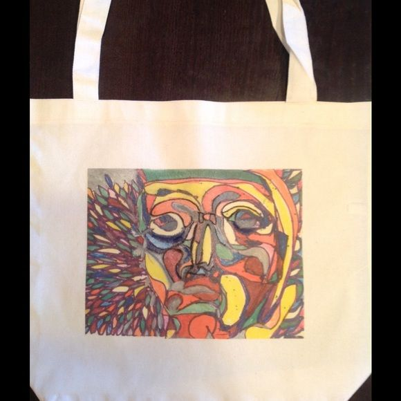 """""""Face of the Feather Festival"""" tote ! American App Hand drawn screened on 17.5x18"""" cotton poly tote by American Apparel.  great fall colors!! American Apparel Bags Totes"""