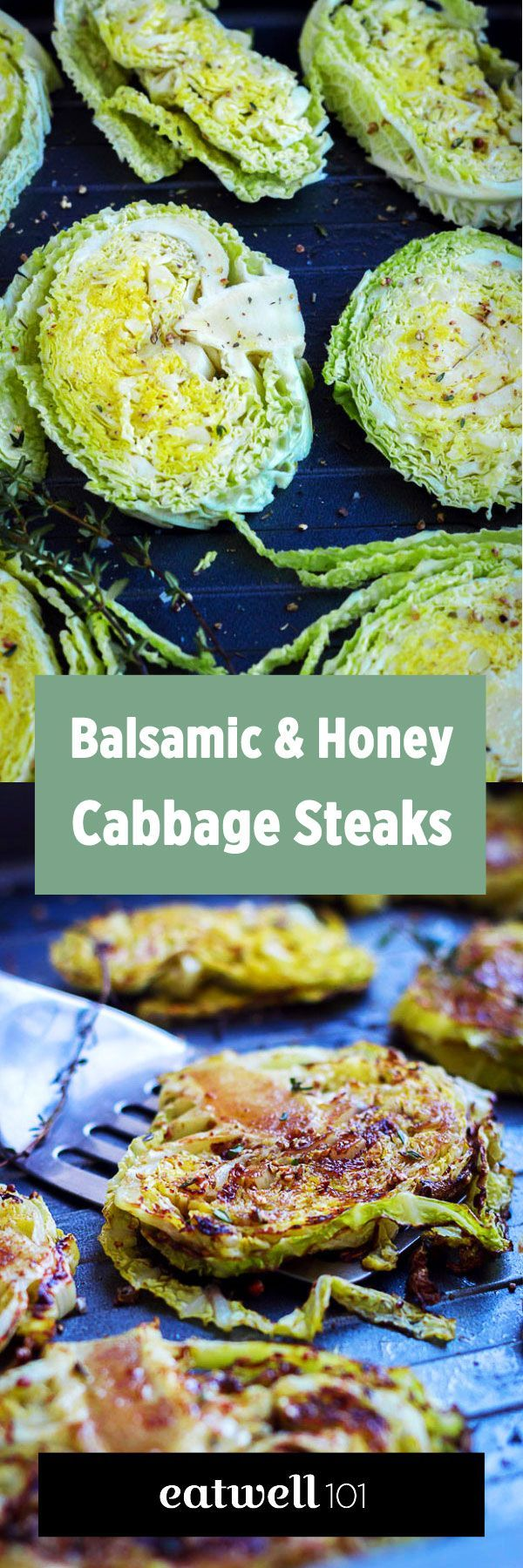 Balsamic, Honey Roasted Cabbage Steaks