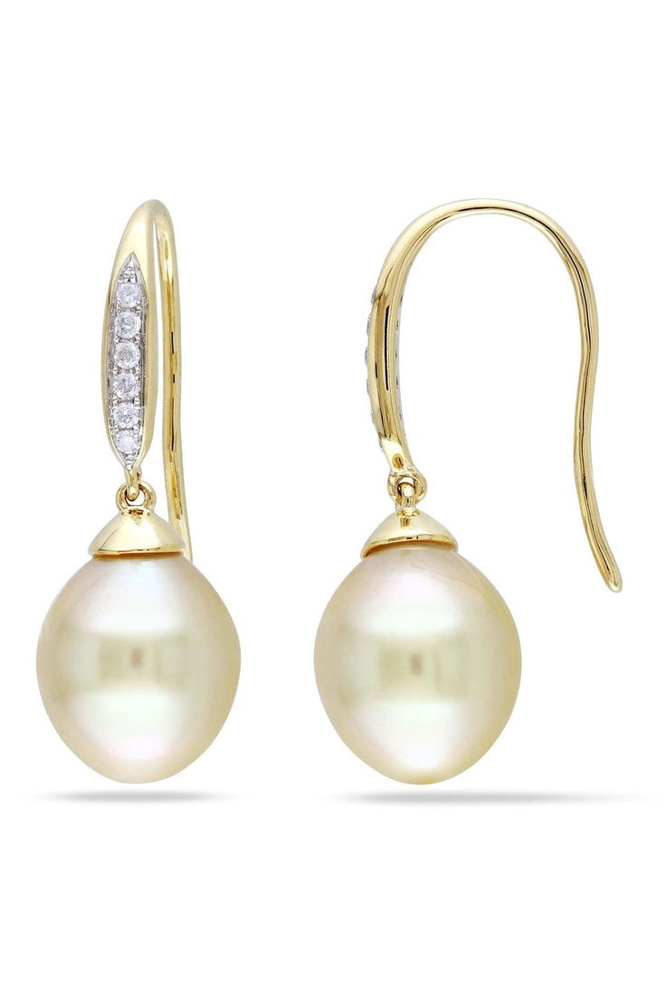 Vintage pearl drop gold earrings bocheron pearl earrings gold - Golden South Sea Pearl Diamond Drop Earrings Yellow Gold I M Definitely A Salt Water Pearl Kind Of Girl And Old Is My Favorite Color