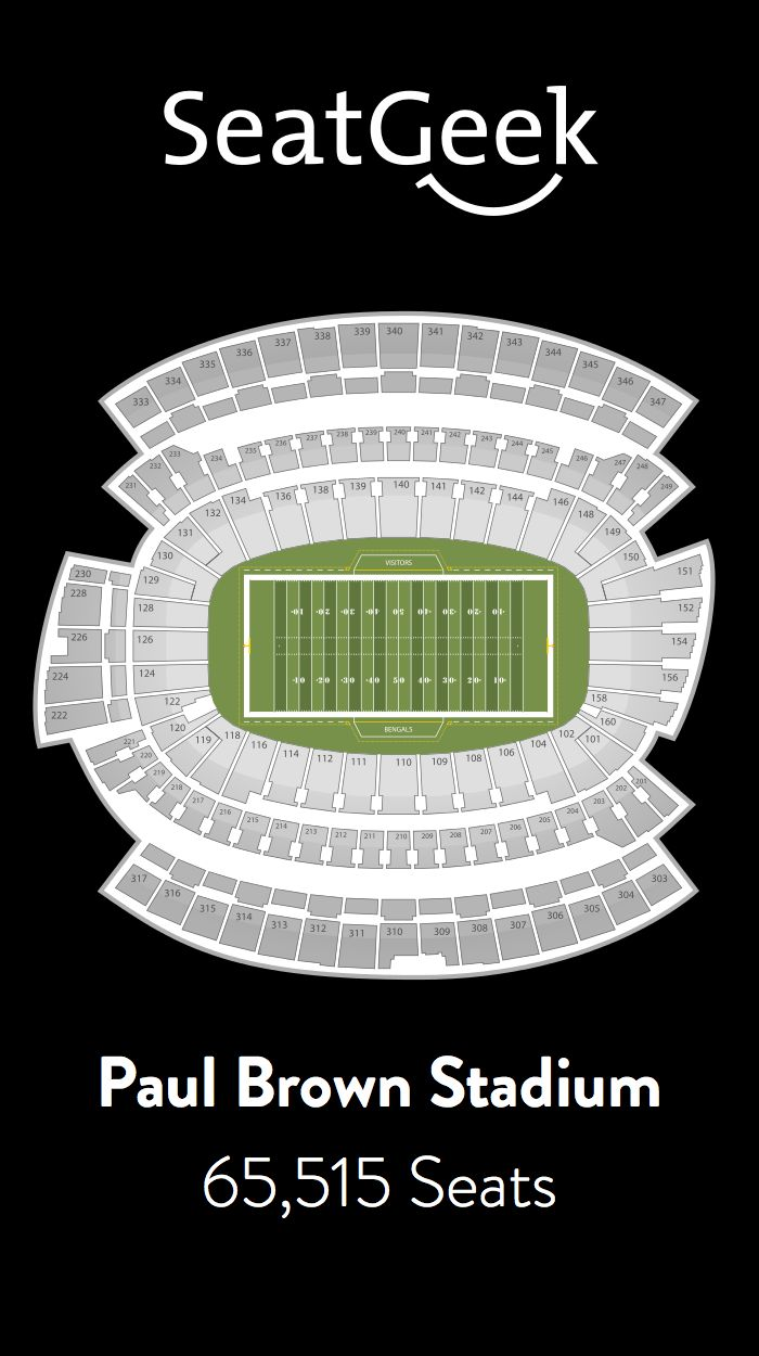 Find the best deals on Cincinnati Bengals tickets and know exactly where you'll sit with SeatGeek.
