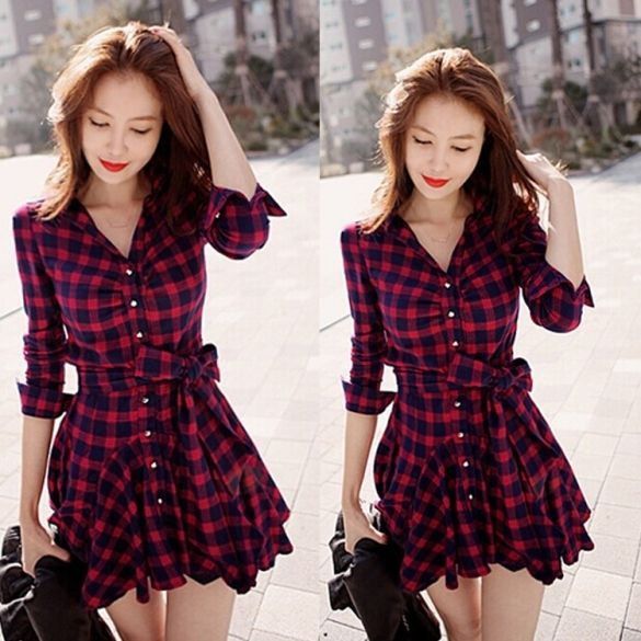 Best Sale Stylish Lady Women New Fashion Long Sleeve Lapel Plaid Sexy Dress