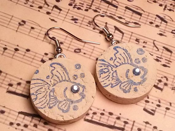 Recycled Wine Cork Earrings  painted white blue inked fish with blue crystal eyes
