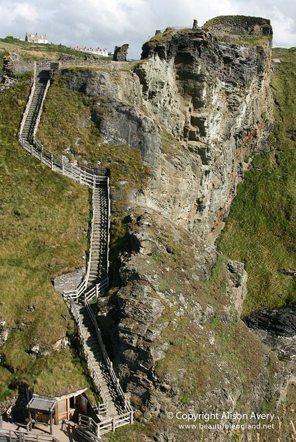 Steps to the bridge, connecting to The Island, Tintagel Castle, Tintagel, Cornwall by Beautiful England, via Flickr