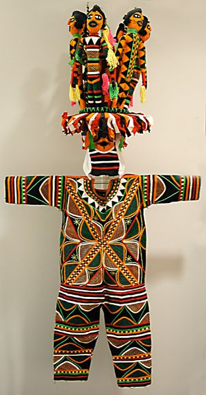 Africa   Ancient mother (Odogo) masquerade costume from the Okpella Edo people of Nigeria   Made by Lawrence Ajanaku, 1970s   Cotton cloth applique.