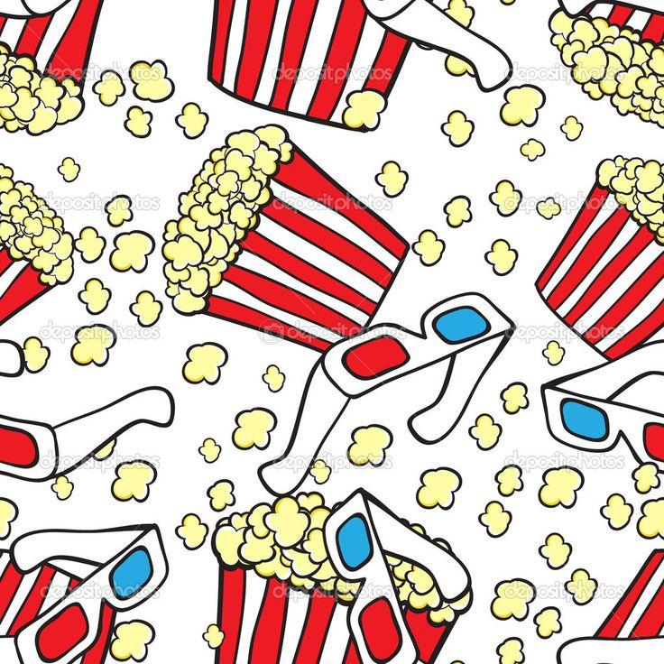 Downloaden - Vector naadloze patroon met bioscoop symbolen. Popcorn en 3d bril — Stockillustratie #10884647