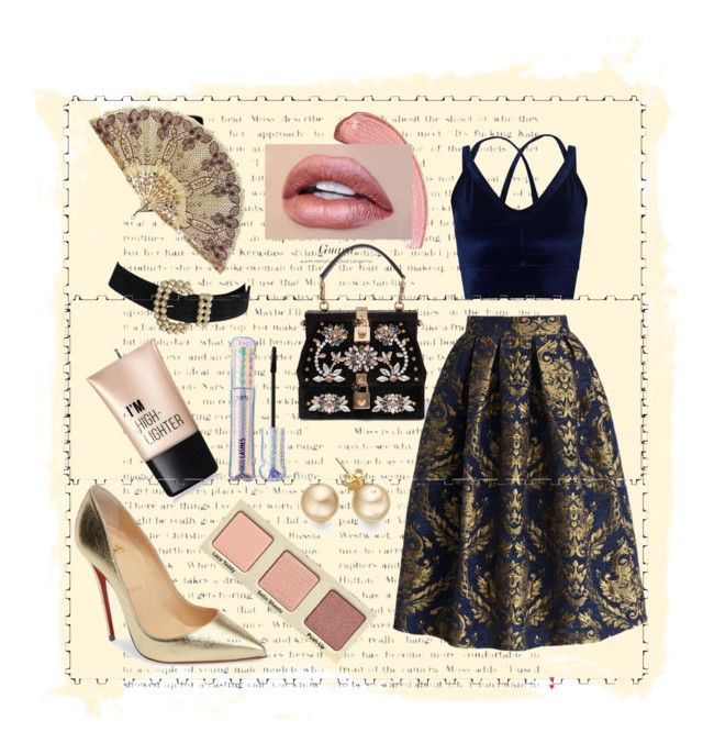 """""""A little golden"""" by spookie1 on Polyvore featuring Dolce&Gabbana, Chicwish, Christian Louboutin, Miss Selfridge, Charlotte Russe and tarte"""