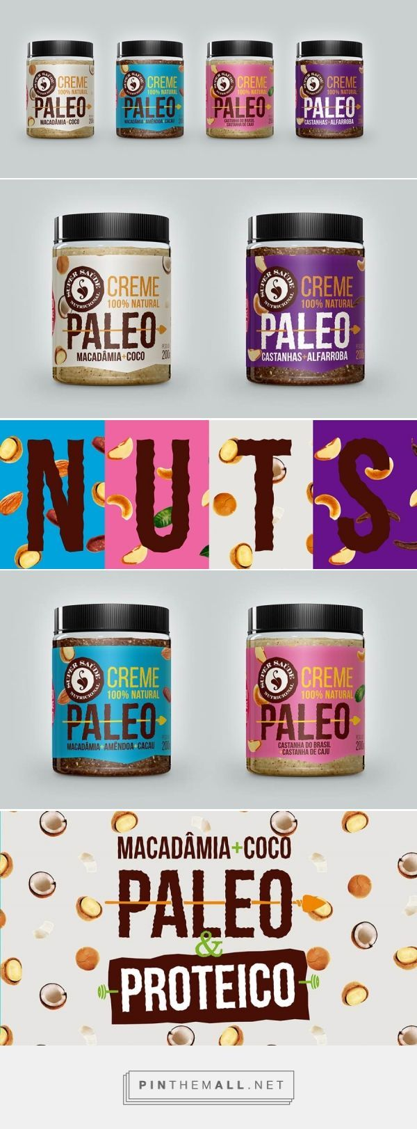 Paleo Nut Butter Packaging Design via Abduzeedo Design Inspiration curated by Packaging Diva PD. Created by Brazilian design agency Hamo. They designed this amazing package for a super foods company that is coming out with a new series of nut butters.