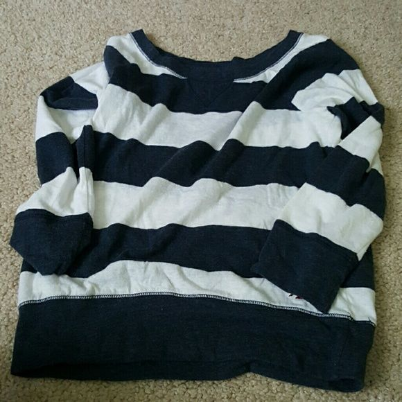 Hollister 3/4 sleeve Navy blue and white stripes. Fits sort of like a crop top. Hollister Tops Tees - Short Sleeve
