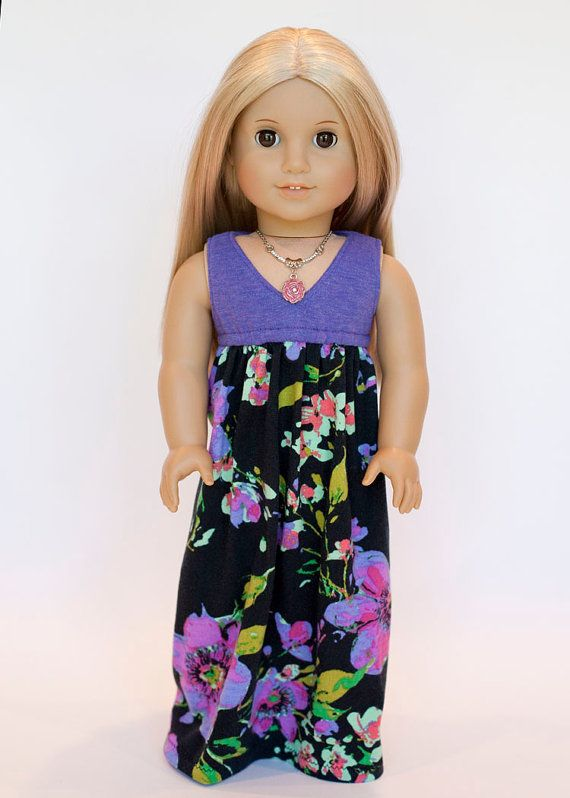 American girl doll Salina maxi dress - purple and black floral on Etsy, $19.00